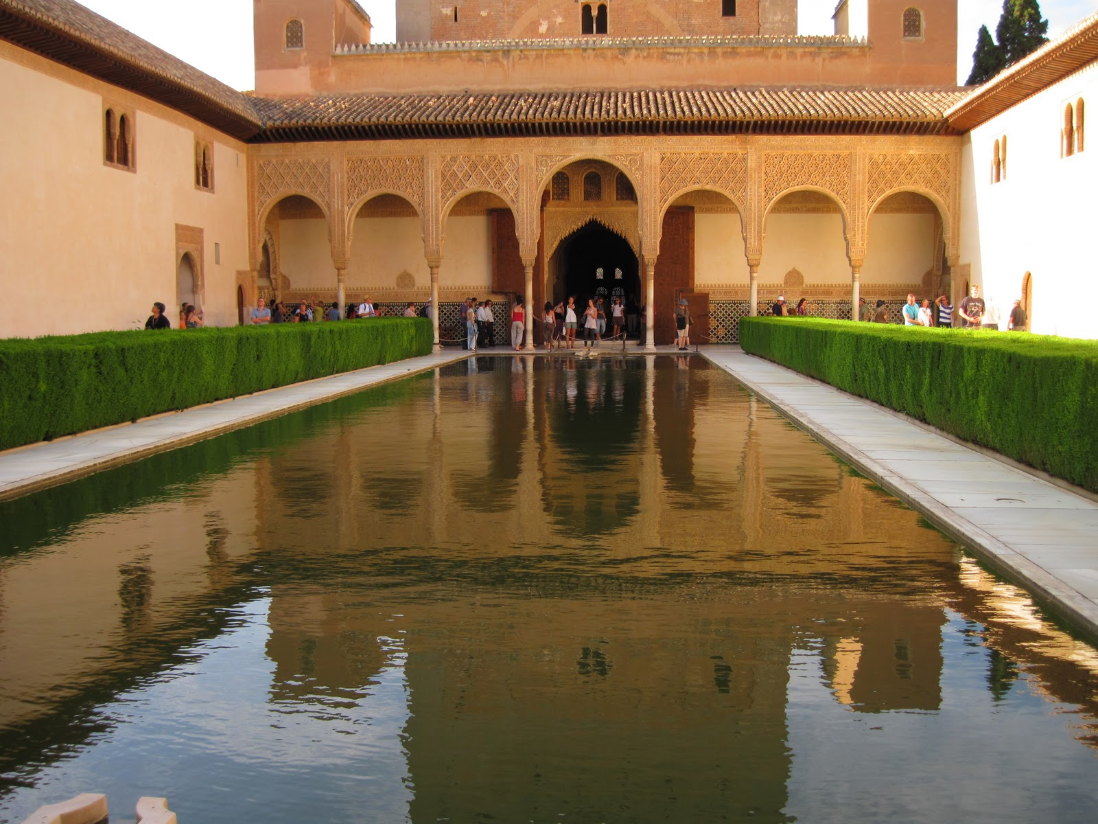 Granada, Spain, Alhambra interior garden with visitors