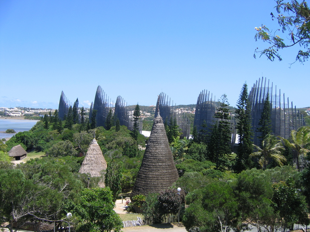 Noumea, New Caledonia, Jean-Marie Tjibaou Cultural Center panoramic view