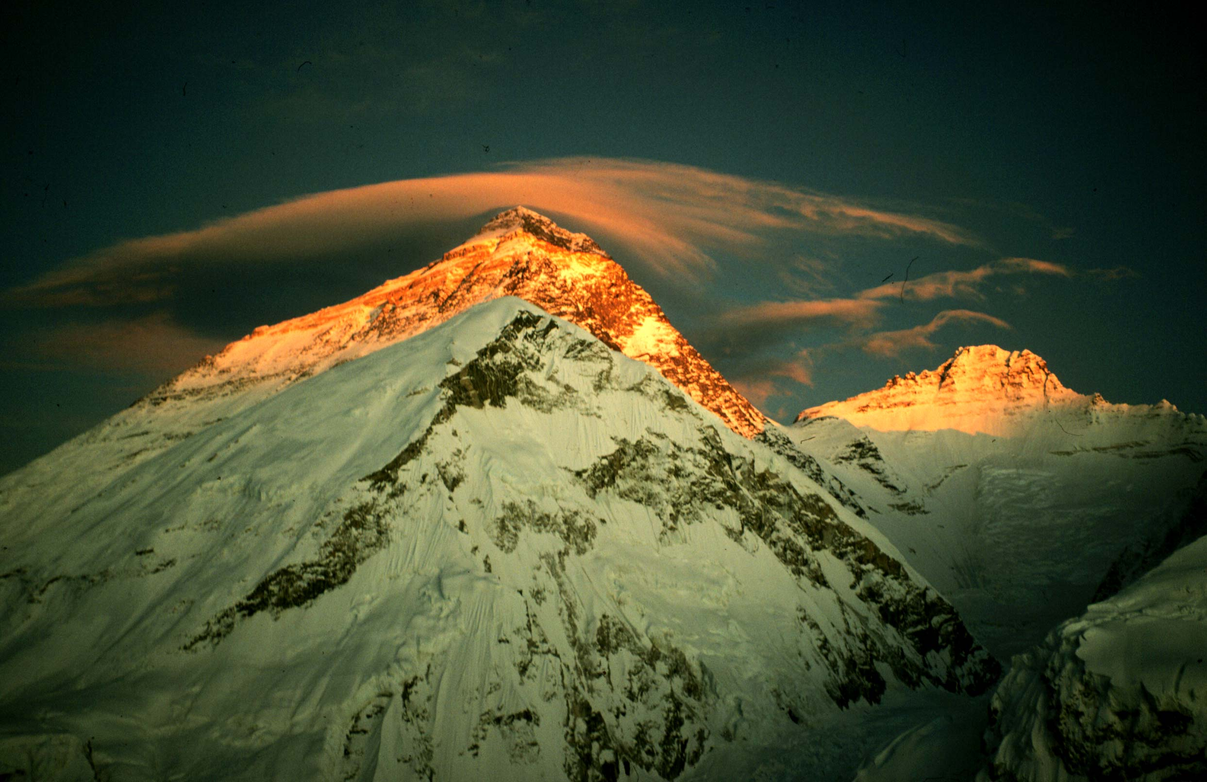 Nepal, Asia, Everest with sunny peaks