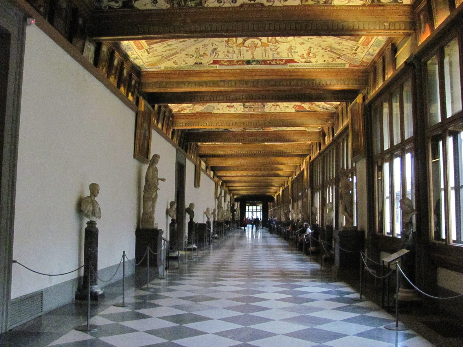 Beautiful sights Florence, Italy, Uffizi Gallery interior view
