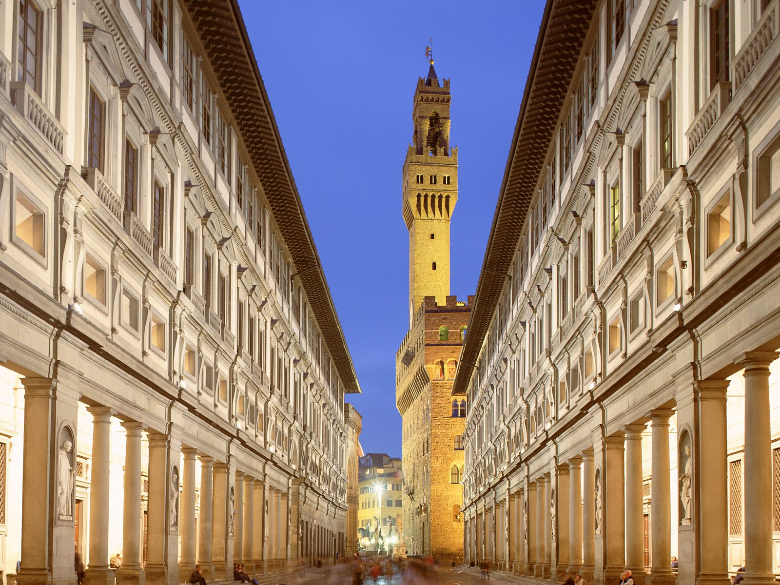 Beautiful sights Florence, Italy, Uffizi Gallery outside wall view
