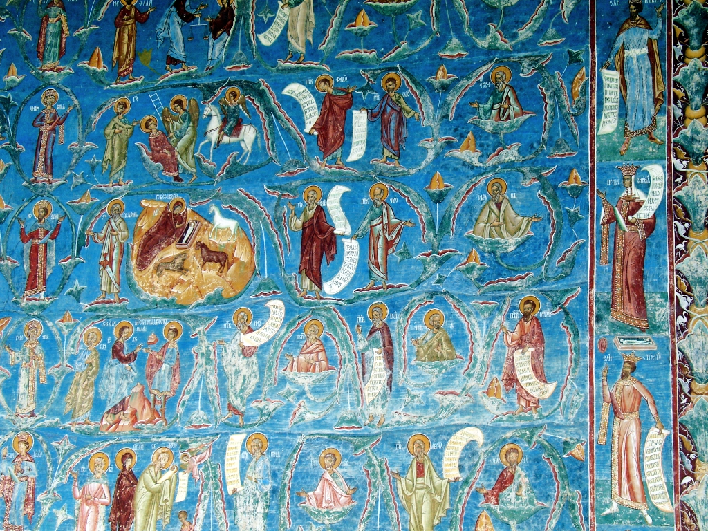 Bucovina, Romania, Voronet Monastery, Blue paintings