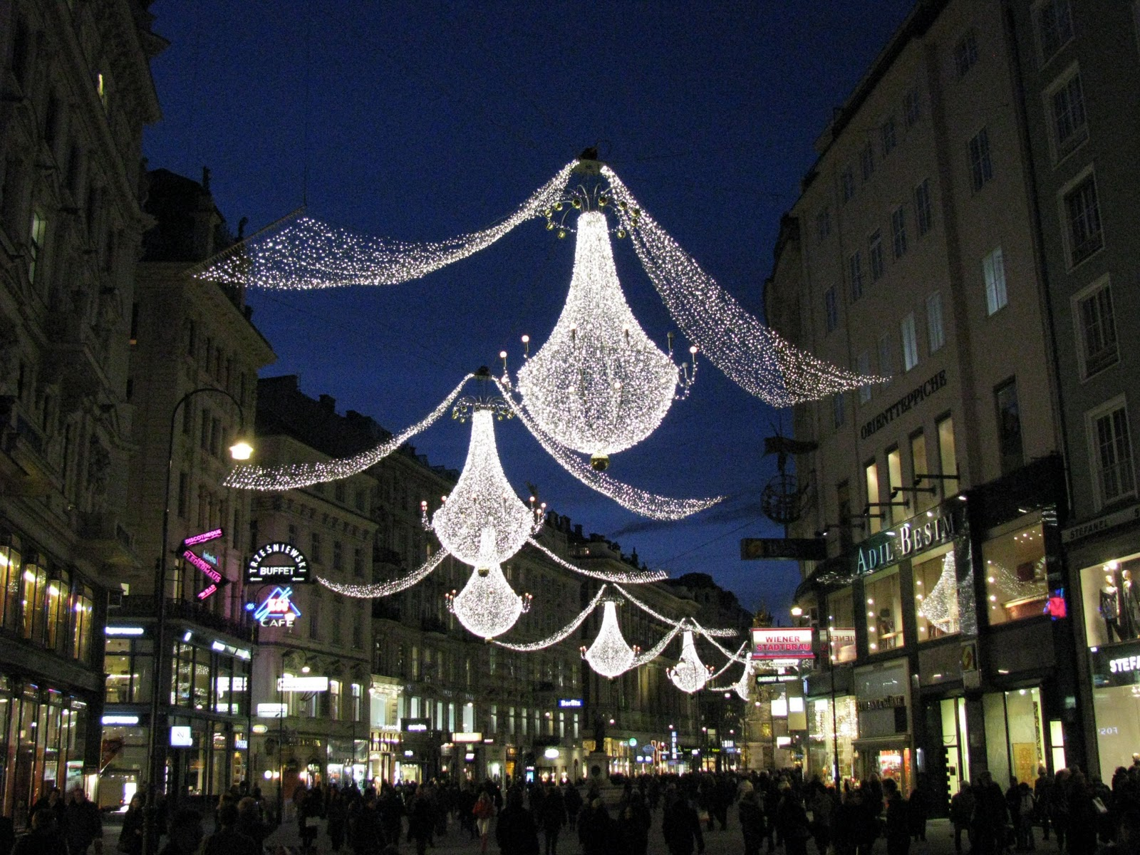 Christmas Holiday, Vienna, Austria, Garlands on the streets 2
