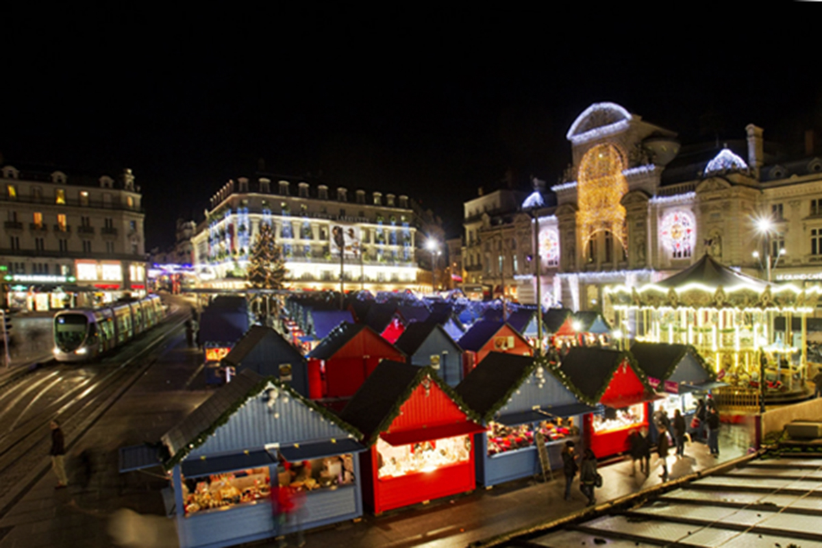 Christmas market, Angers, France, the huts
