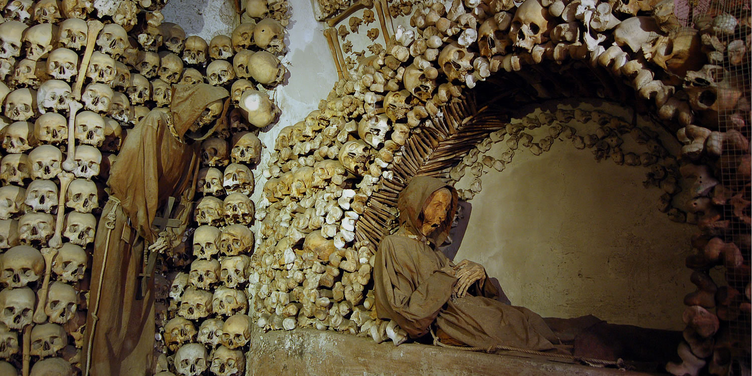 City Break Holiday, Rome, Italy, The Capuchin Crypt, Interior detail view