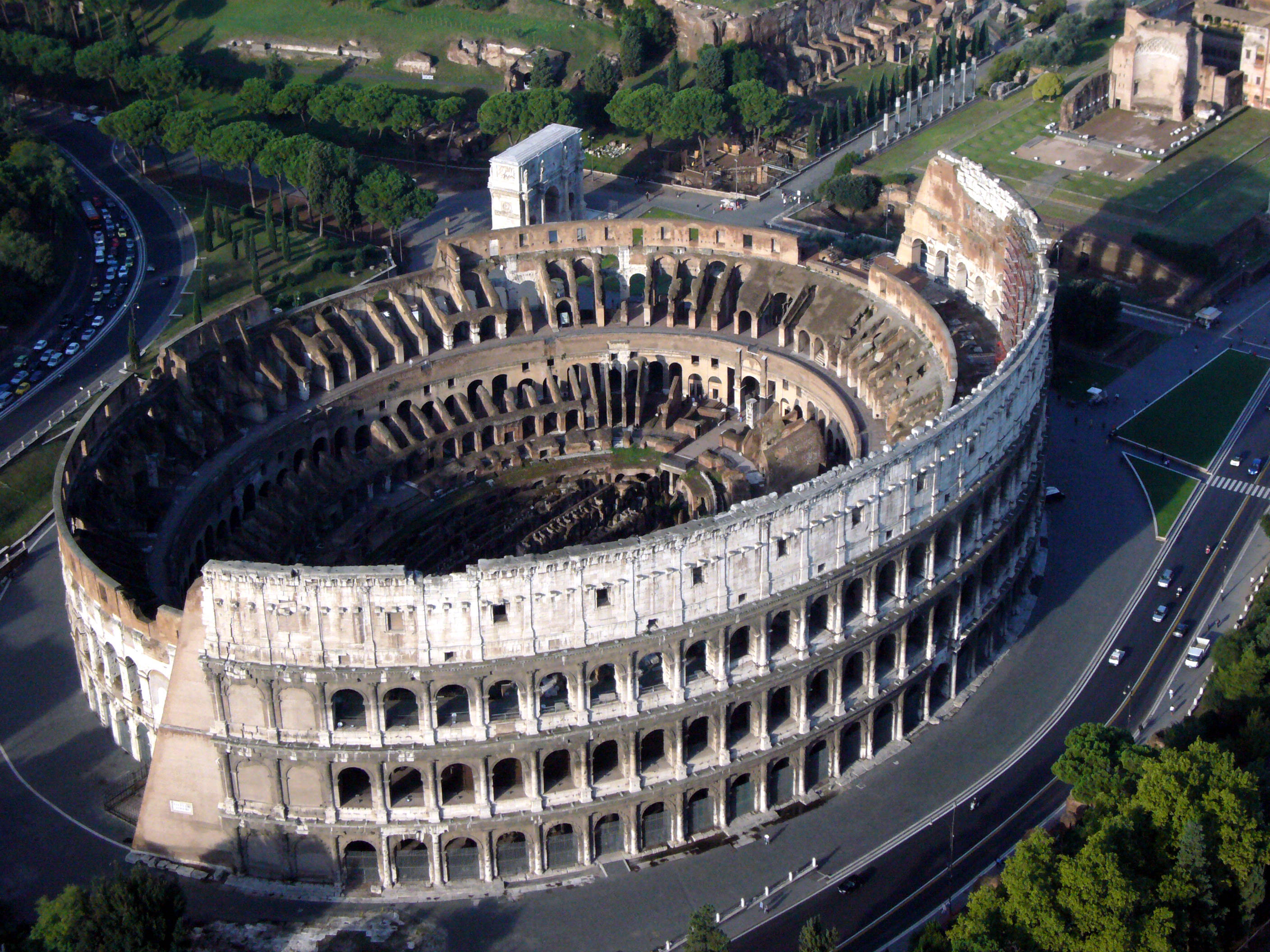 Colosseum Rome Italy Aerial View