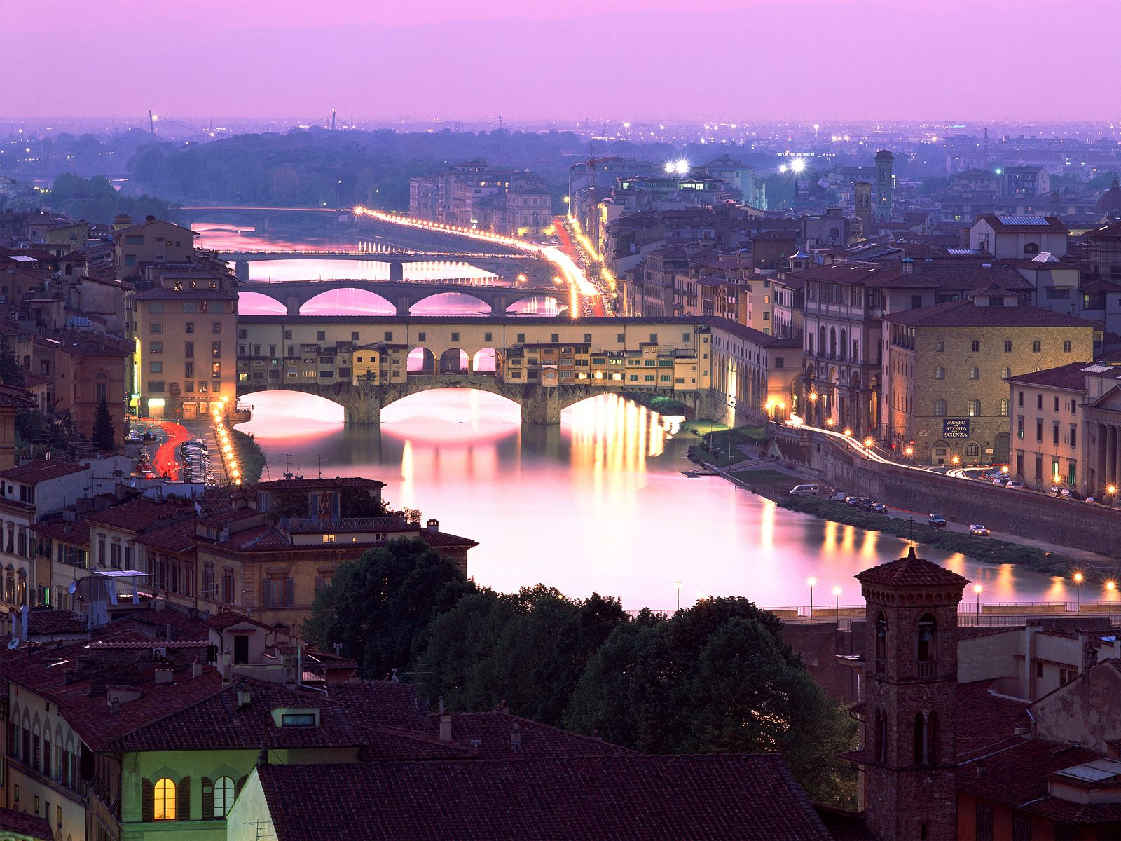 Florence, Italy, Ponte Vecchio at night
