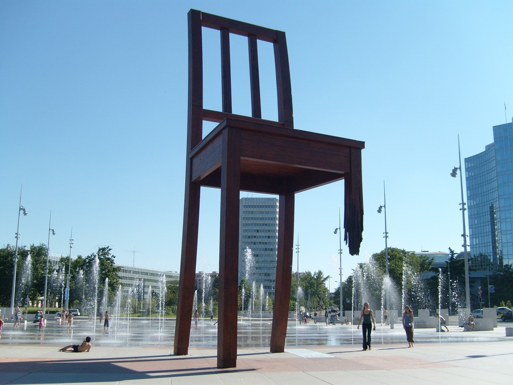 Geneva, Switzerland, Europe, Three Legged Chair .