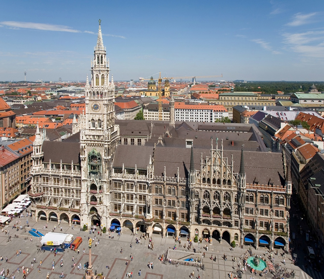 Germany Holiday, Munich, Germany, Marienplatz aerial view