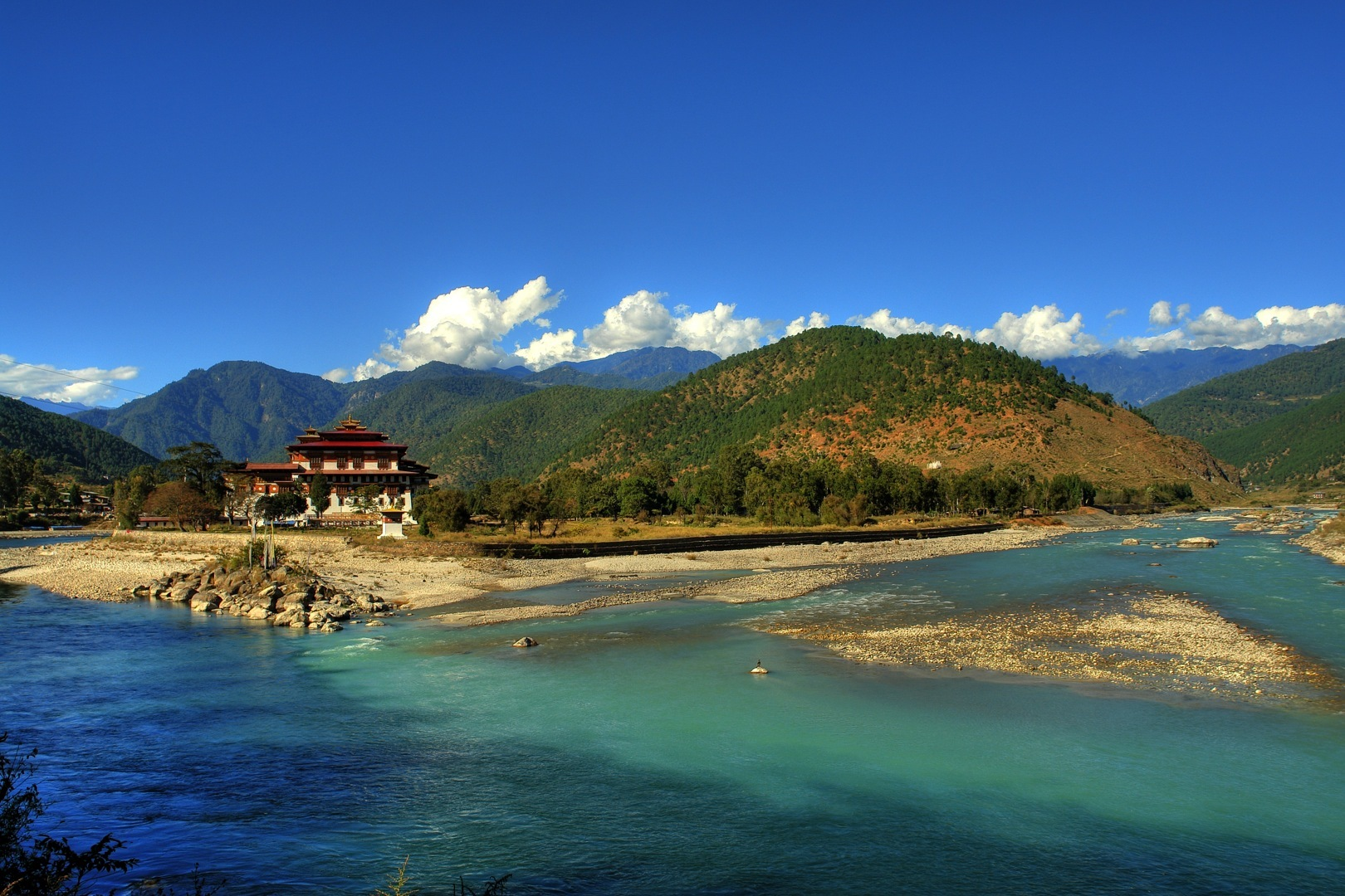 Happiness Holiday, Bhutan, Asia, Riverside house