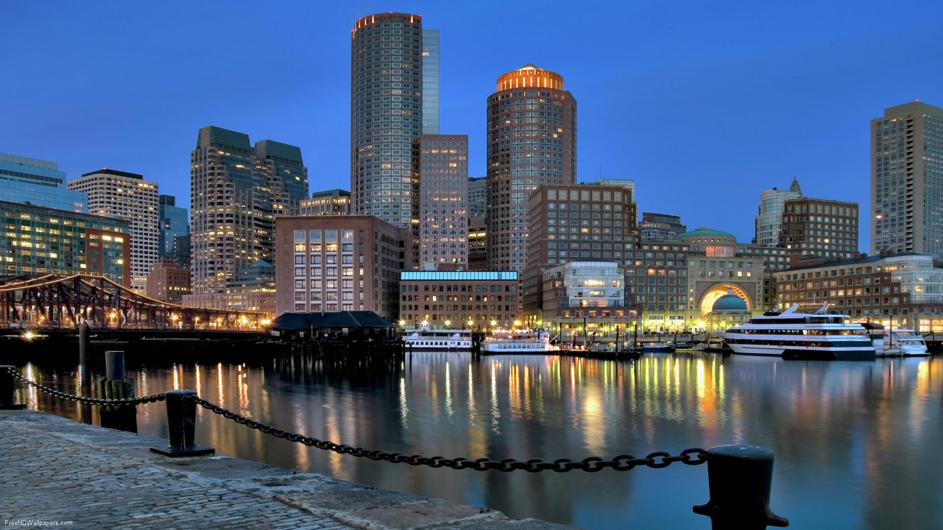 Holiday maze, Boston, USA, City skyline by dawn