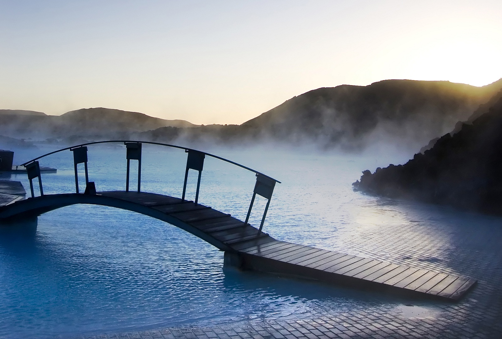 Impressive Swimming Pool, Iceland, Europe, Resort Blue Lagoon morning time