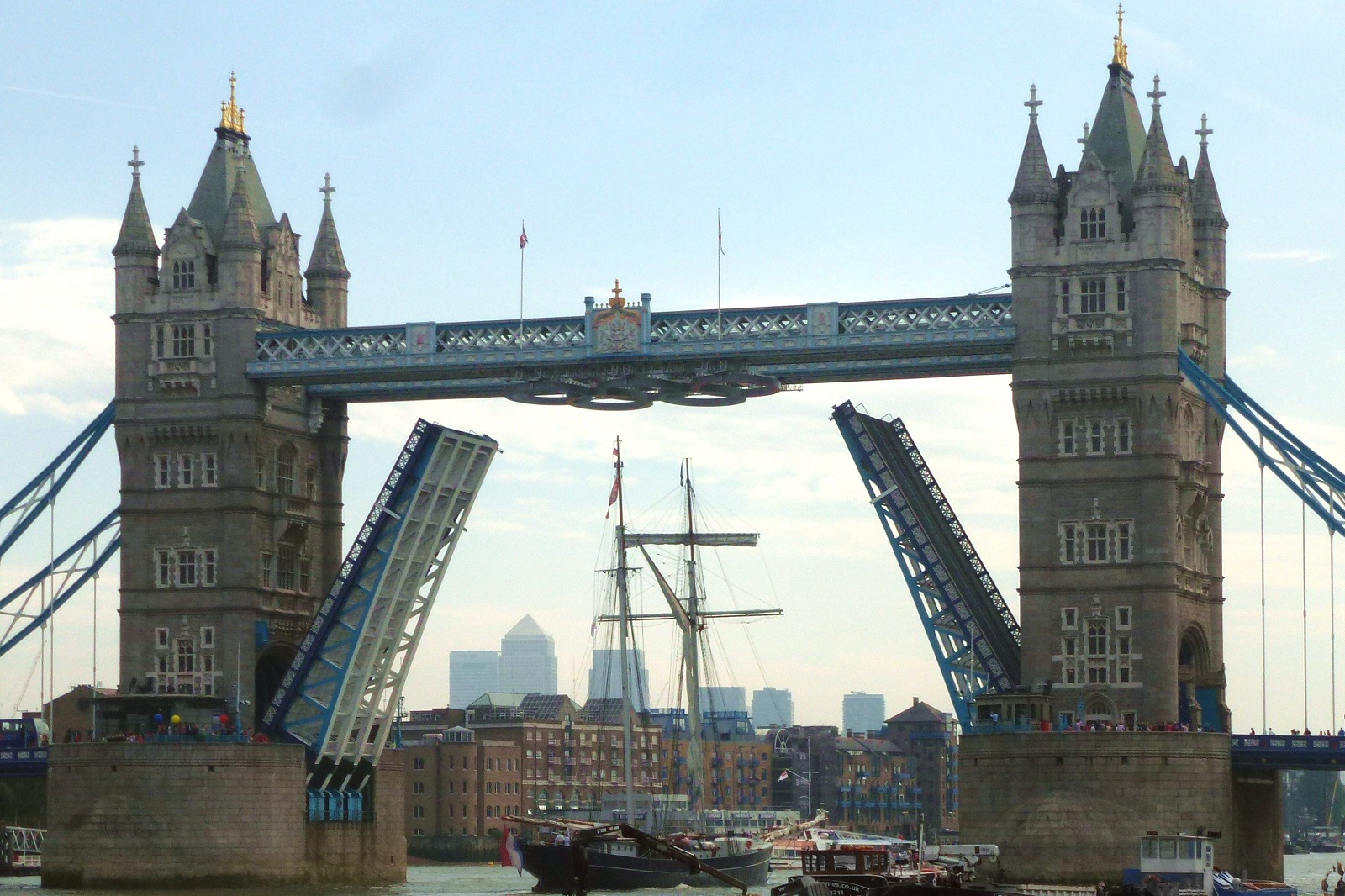 London Attraction Holiday, Tower Bridge, London, United Kingdom, Sides lifted