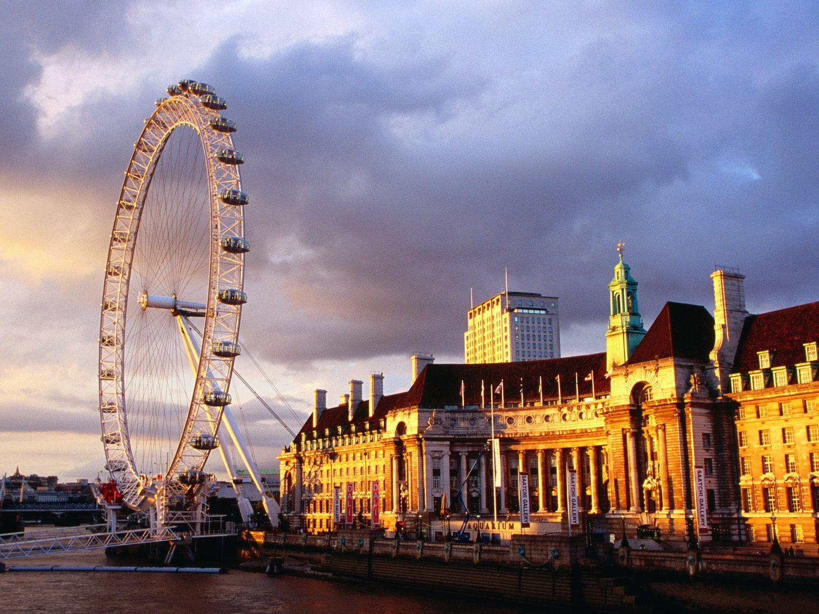 London United Kingdom  city images : London, United Kingdom, London Eye at evening
