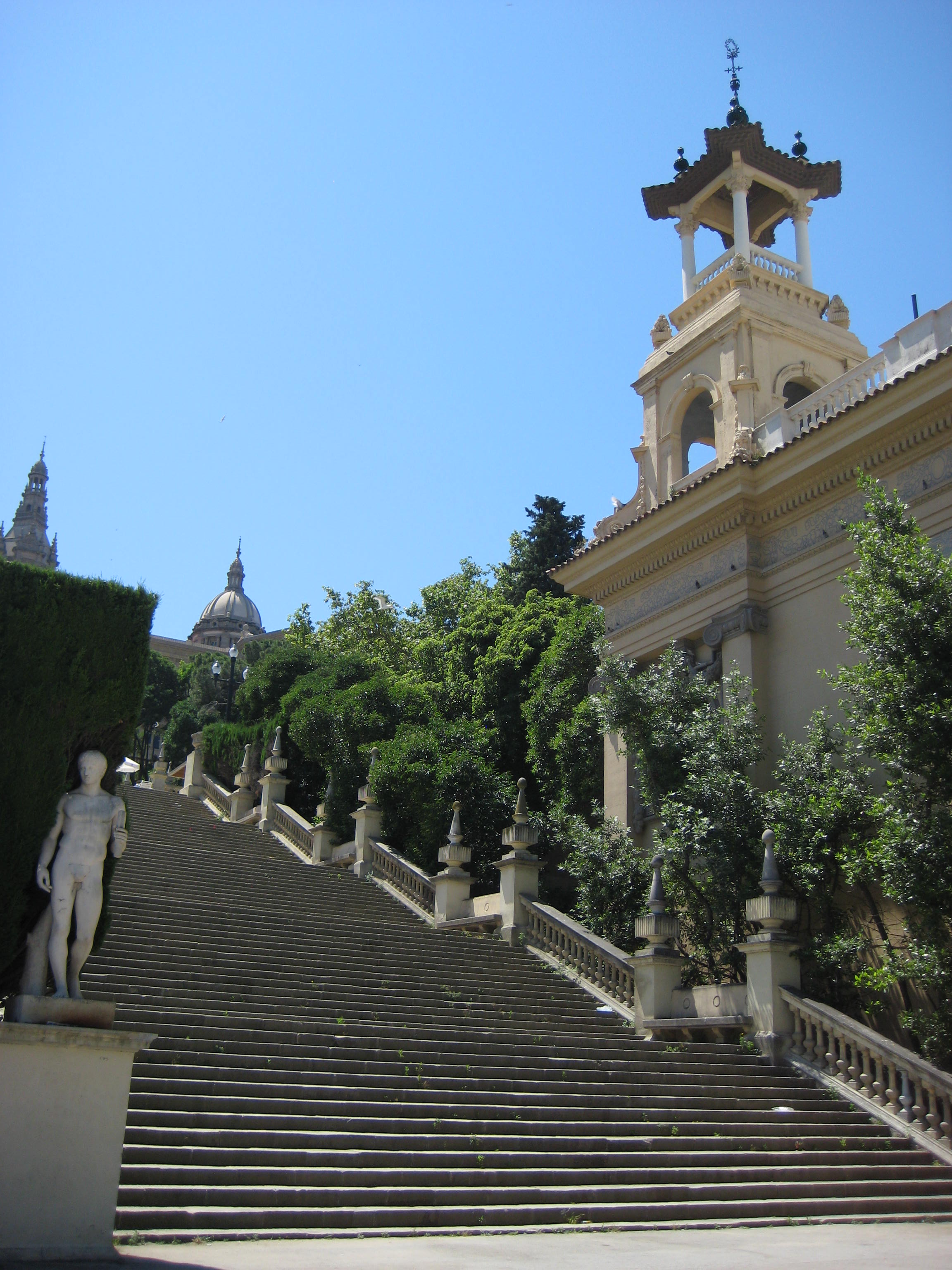 National Museum of Catalan Art, Barcelona, Spain, Stairs to entrance
