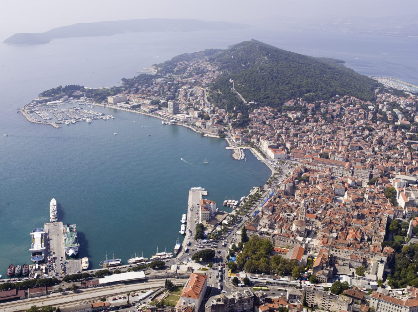 Movie Style Holiday, Split, Croatia, Europe, City port aerial view