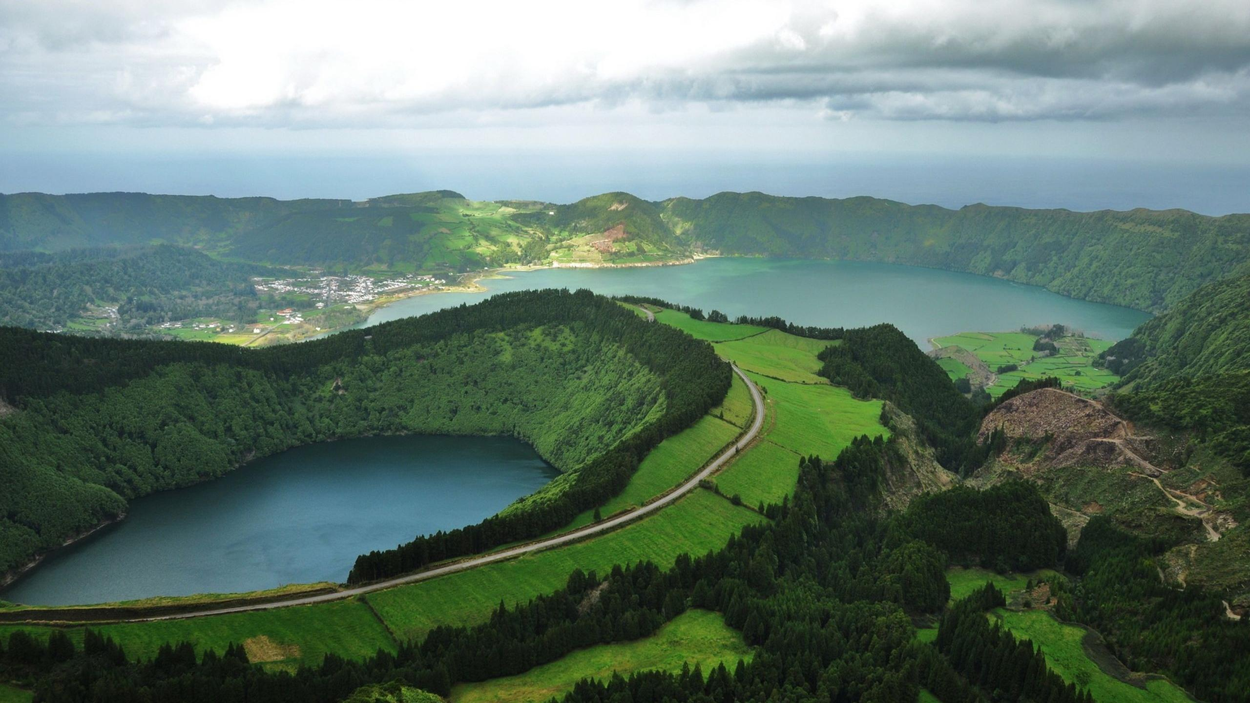 Dangerous Natural Pool Holiday, Salty basins, Azores Island, Aerial view