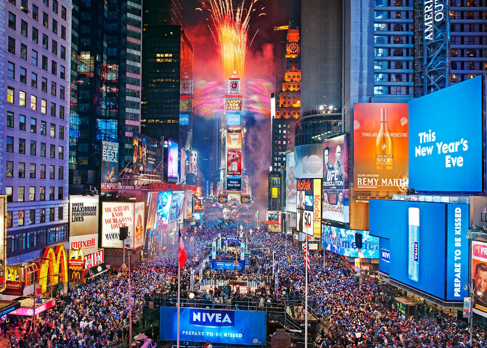 New Year Destinations, New York, USA, Time Square At New Year Countdown .