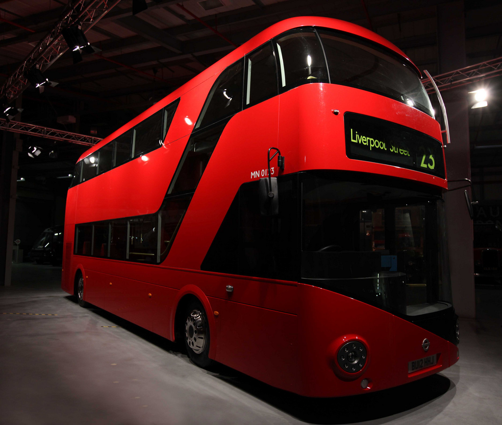 Public Transportation Tourism, London, United Kingdom, City new bus front view