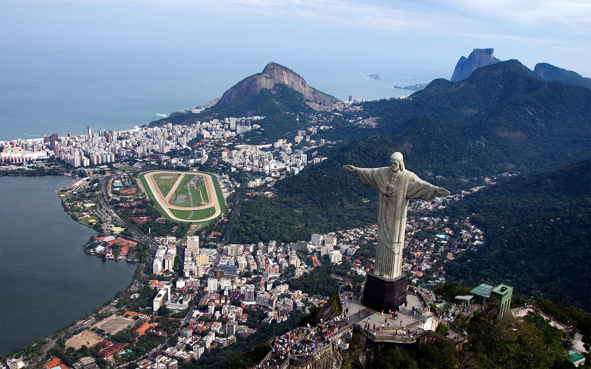 Rio de Janeiro, Brazil, Aerial view of Statue of Jesus