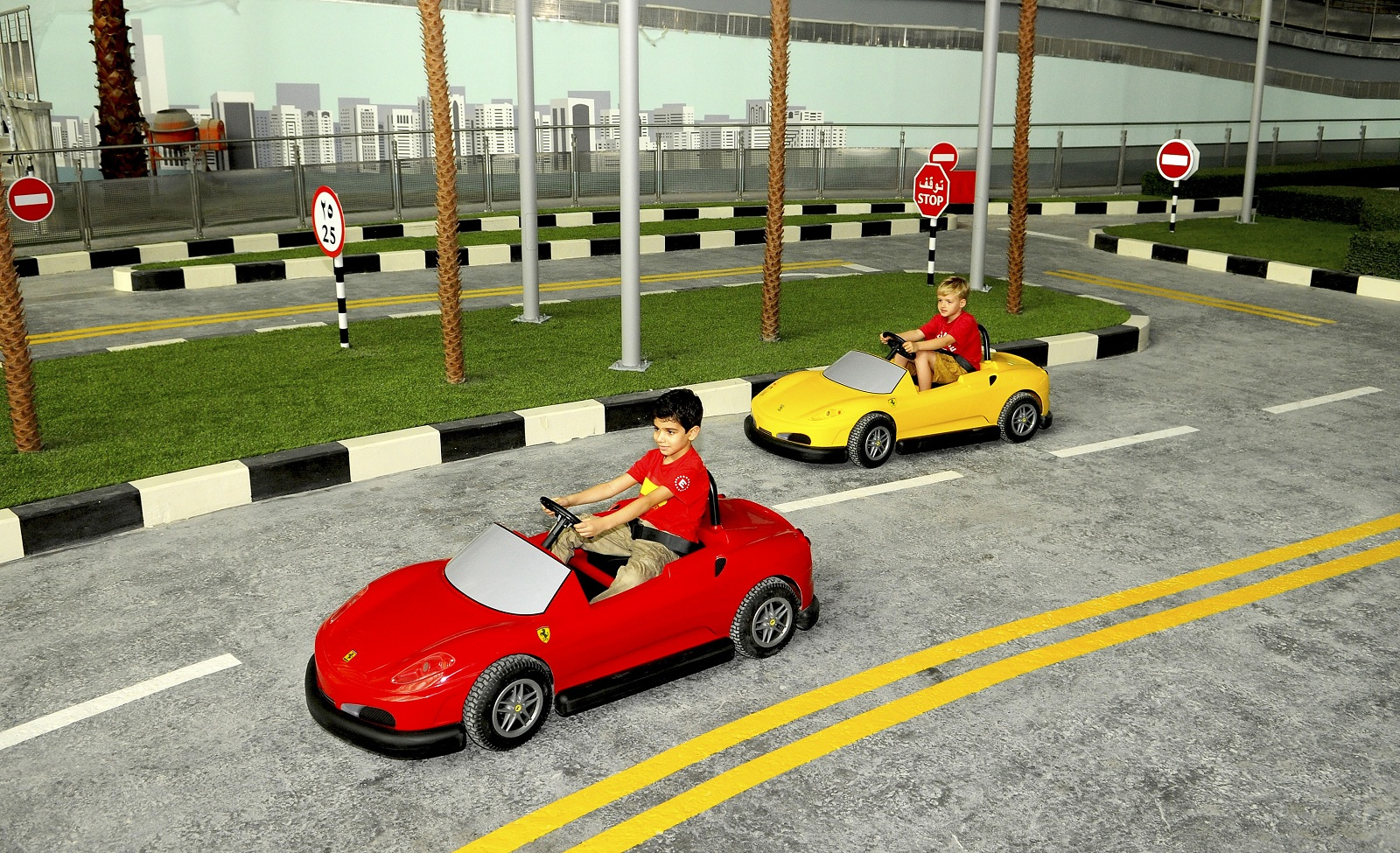 strangest theme park abu dhabi uae ferrari world kids car racing