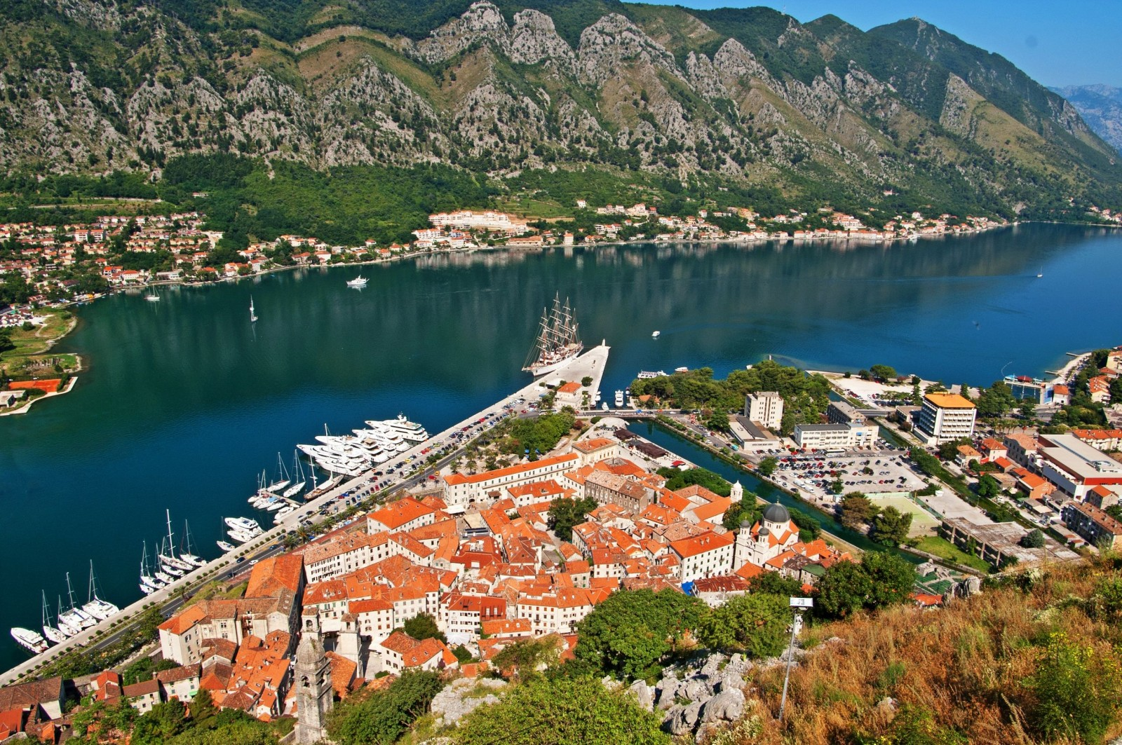 Stunning Places Holiday, Montenegro, Kotor Bay, Aerial marina view