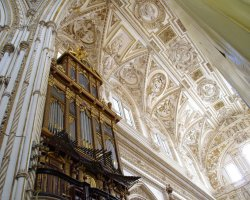 Cordoba, Spain, Mezquita Catedral, Cathedral organ and the roof view