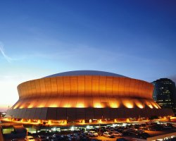 New Orleans, U.S.A., Louisiana Superdome, Outside evening view