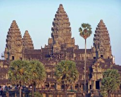 Angkor, Cambodia, Angkor Wat Temple, Sunset view, Tourists visiting the temple