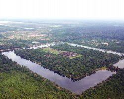 Angkor, Cambodia, Angkor Wat Temple, Panoramic air view