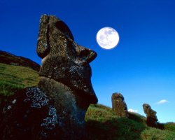 Easter Island, Chile, Rano Raraku,  Easter Island Moai statues at night