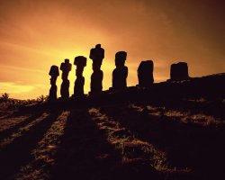 Easter Island, Chile, Easter Island Moai Statues at sunset
