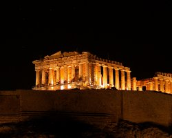 Grecee, Europe, The Parthenon illuminated at night