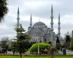 Istanbul, Turkey, Blue Mosque park side view