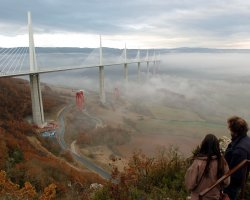 Millau, France, Millau Bridge construction aside with clouds