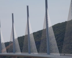 Millau, France, Millau Viaduct pillars closer view