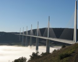 Millau, France, Millau Viaduct with clouds bellow