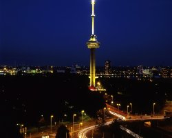 Netherlands, Europe, Euromast at night