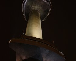 Netherlands, Europe, Euromast view from the ground at night
