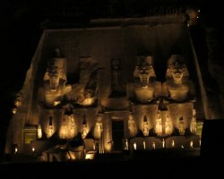 Abu Simbel, Nubia, Egypt, Temple of Ramsses II at night