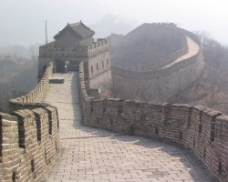 China, Asia, The Great Wall on a misty day