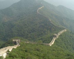 China, Asia, The Great Wall over the mountain