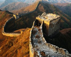China, Asia, The Great Wall wit the time fingerprint on it