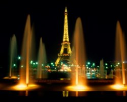 France, Europe, Eiffel Tower Paris view trough fountains