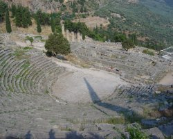 Greece, Europe, Delphi amphitheater from above