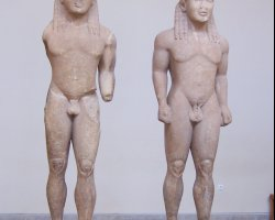Greece, Europe, Twins of Argos statues at Delphi