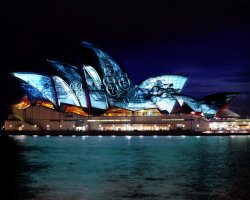 Sydney, Australia, Sydney Opera House Rendering of Exterior Projections Western Sails