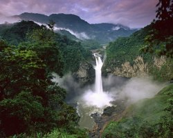 Ecuador, America, San Rafael Falls in Amazon Rainforest