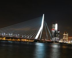 Rotterdam, Netherlands, Erasmus Bridge at night
