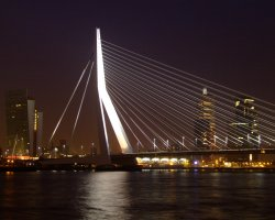 Rotterdam, Netherlands, Erasmus Bridge light up at night